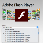 Screenshot des Download-Bereich auf der Webseite zum Adobe Flash Player