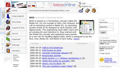 Screesnhot der BeOS Online Webseite beosonline.de
