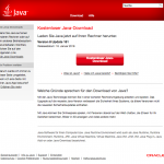 Screenshot vom Java Download Bereich
