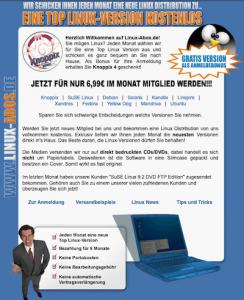 Screenshot der Webseite Linux-Abos.de vom 5. Juli 2007
