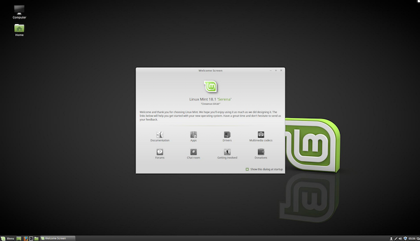 Screenshot vom Desktop der Linux Mint Cinnamon 64bit Version