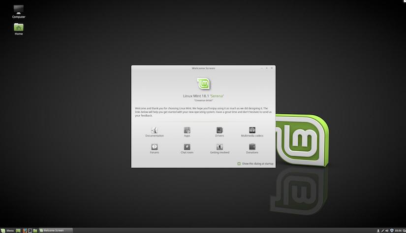 Screenshot vom Desktop der Linux Mint Cinnamon 64bit Version