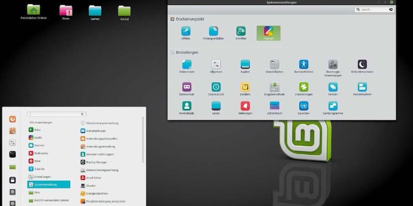Desktop Ansicht von Linux Mint