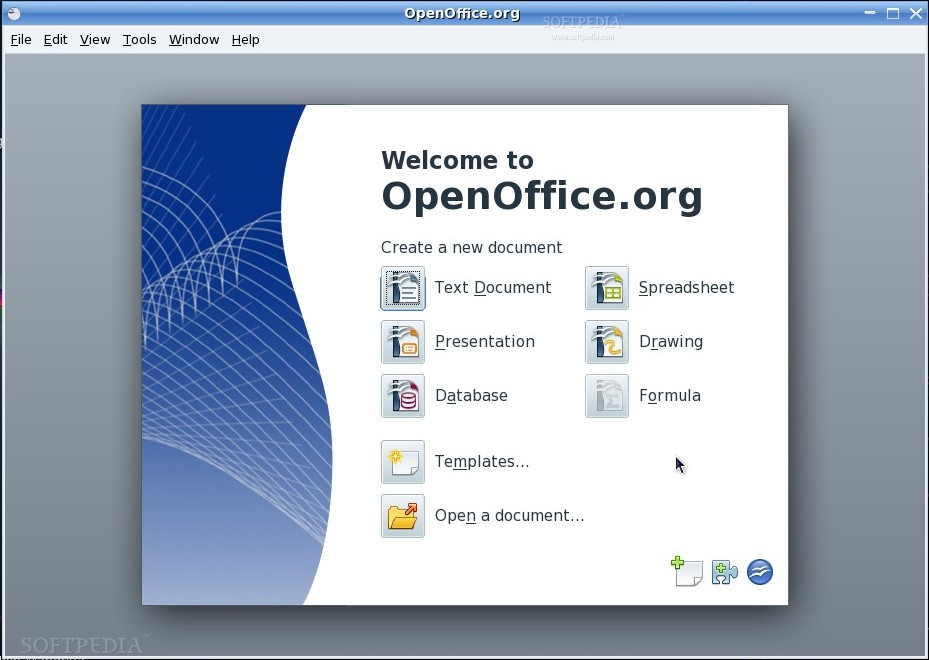 Startbildschirm von OpenOffice für Linux
