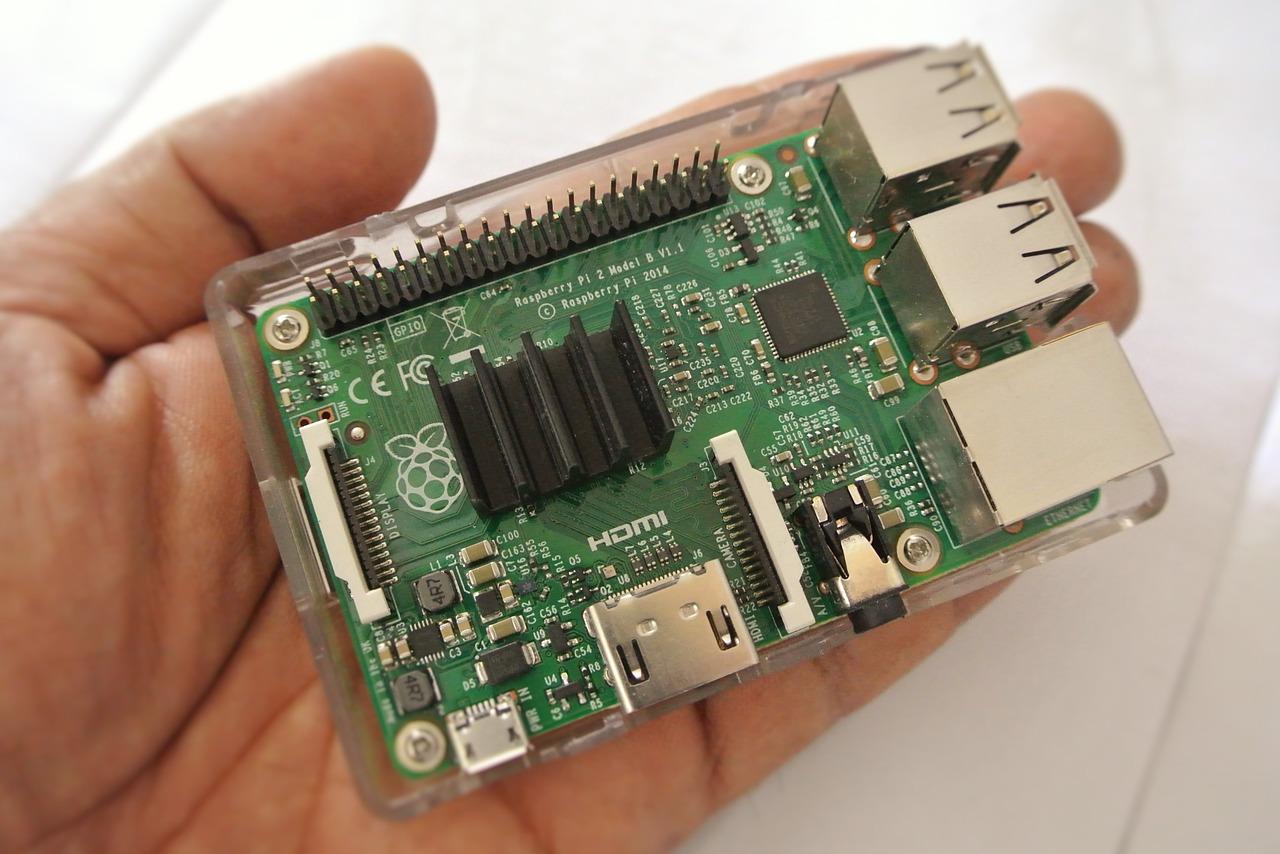 ansicht raspberry pi in einer handfläche
