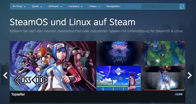 Linux Spiele im Steam Store
